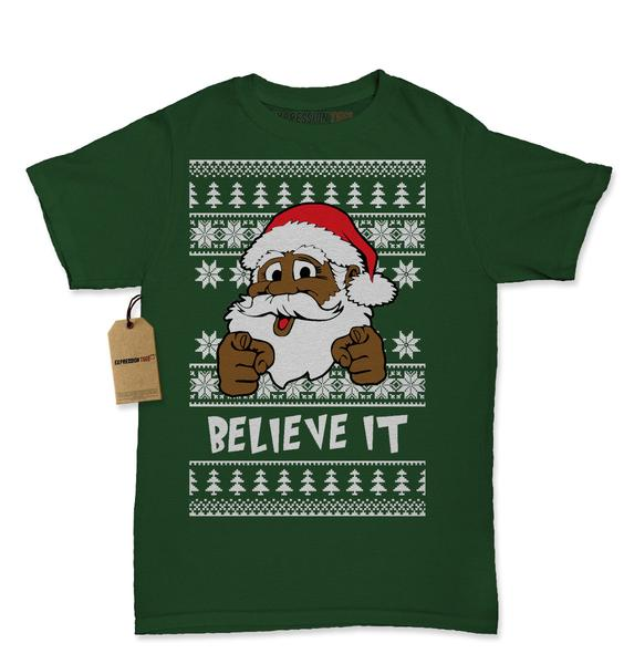 Believe It! Black Santa Clause Ugly Christmas Womens T-shirt