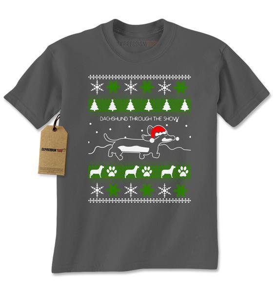 Dachshund Through The Snow Ugly Christmas Mens T-shirt