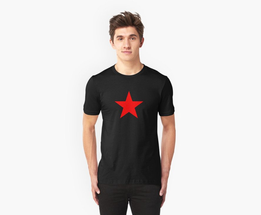 Five-pointed and Filled Red Star Design on Black/Dark