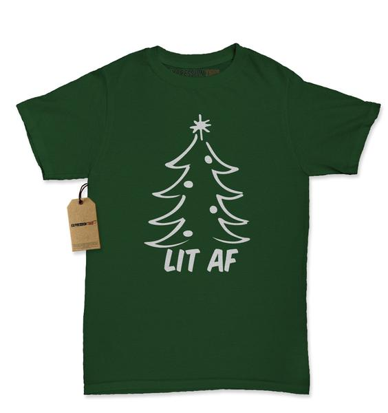 Lit AF Christmas Treet Womens T-shirt