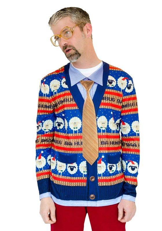 Ugly Christmas Sweater t-shirt Bah Humbug Cardigan and Tie mens