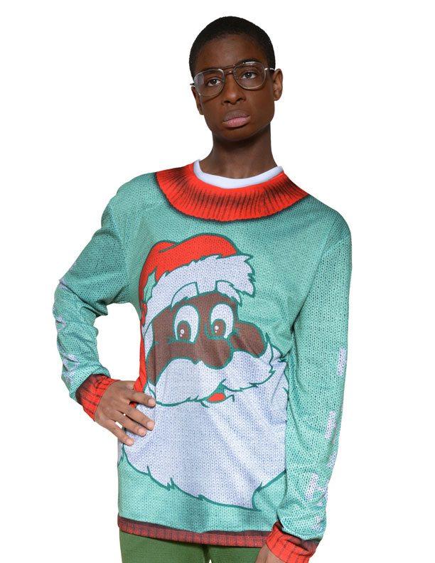 Ugly Christmas Sweater t-shirt Black Santa mens
