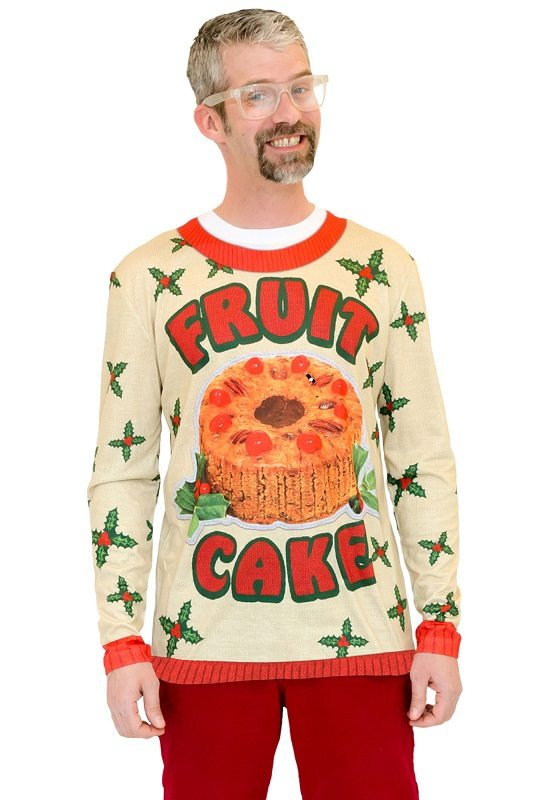 Ugly Christmas Sweater t-shirt Fruit Cake mens