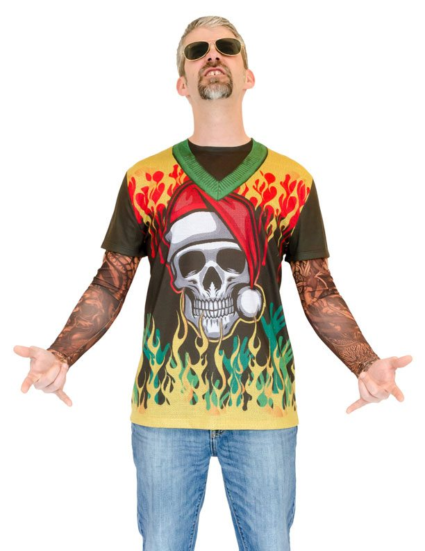 Ugly Christmas Sweater t-shirt Heavy Metal Xmas with Tattoos mens