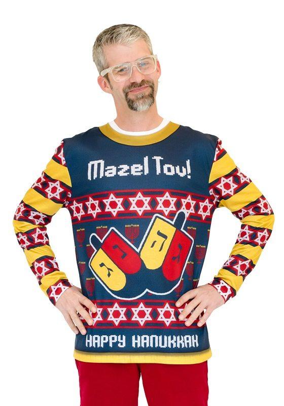 Ugly Christmas Sweater t-shirt Mazel Tov mens