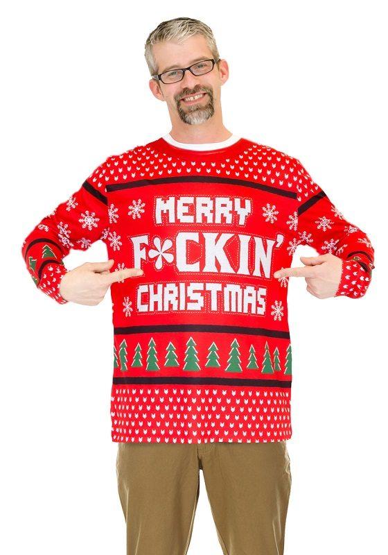 Ugly Christmas Sweater t-shirt Merry F*ckin Christmas mens