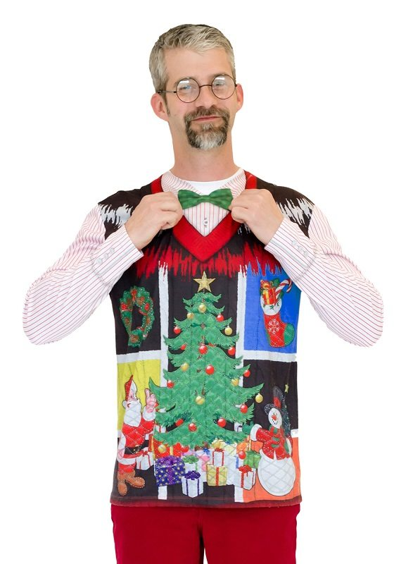 Ugly Christmas Sweater t-shirt Noel Sweater with Bowtie mens