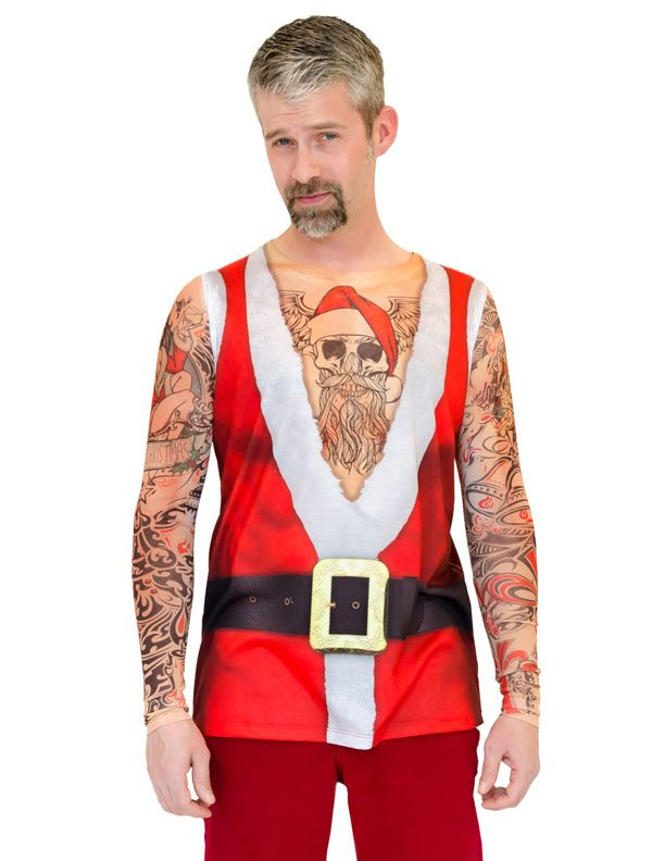 Ugly Christmas Sweater t-shirt Santa Suit Tank with Tattoos mens