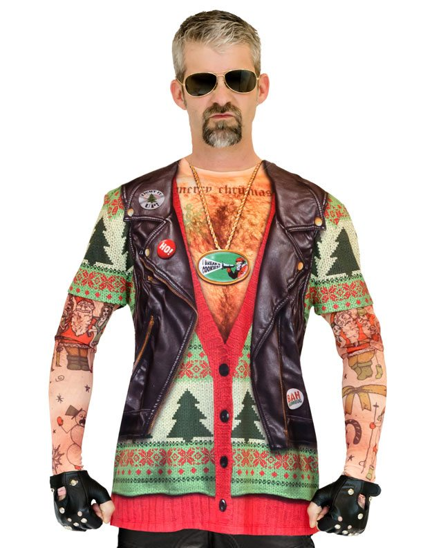 Ugly Christmas Sweater t-shirt Xmas Biker Sweater mens