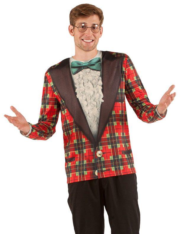 Ugly Christmas Sweater t-shirt Xmas Plaid Tux mens