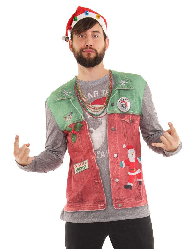 Ugly Christmas Sweater t-shirt Xmas Spirit Flair mens