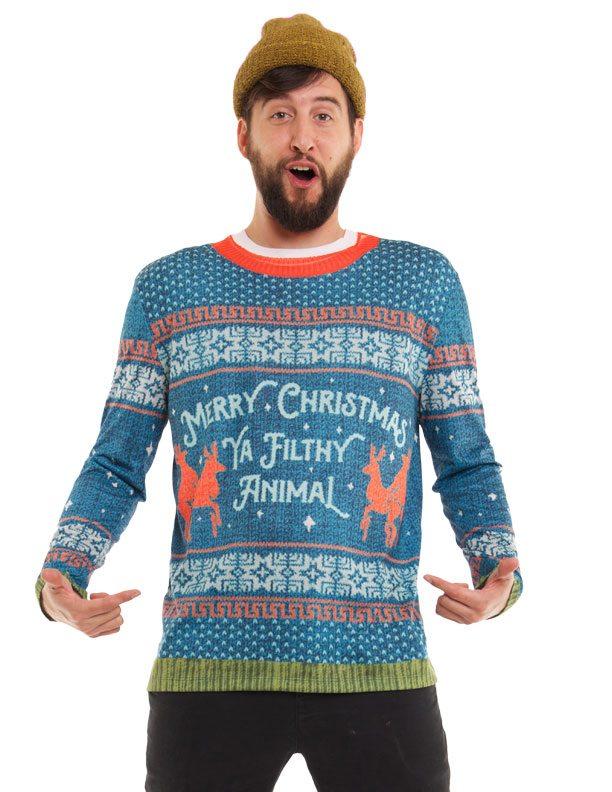 Ugly Christmas Sweater t-shirt Ya Filthy Animal mens