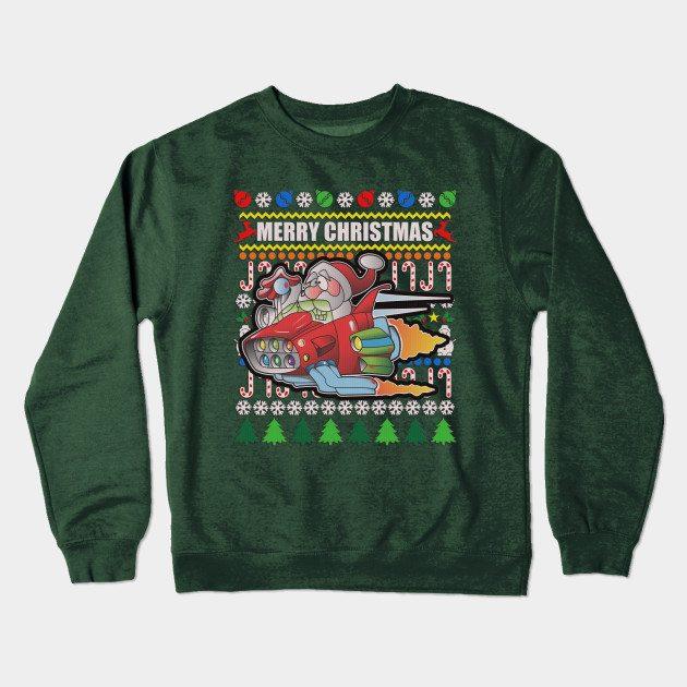 Ugly Sweater Hot Rod Santa Crewneck Sweatshirt