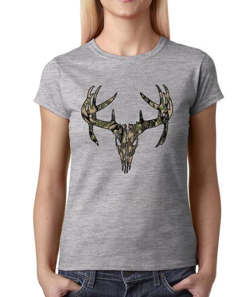 Camo Deer Skull – Woodland Womens T-shirt