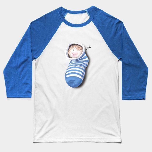Cat in the sock Baseball T-Shirt