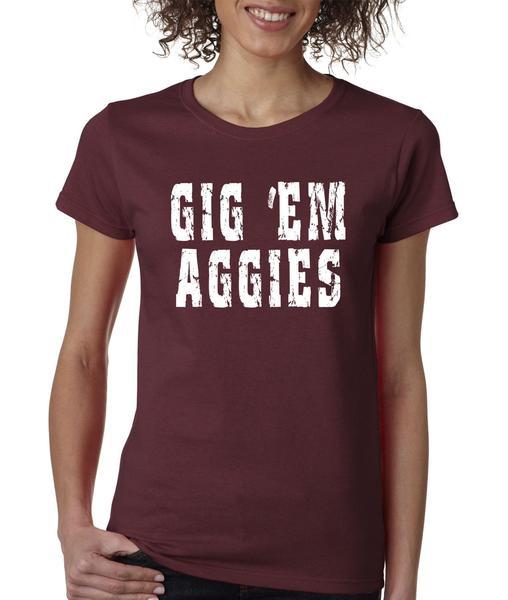 Gig 'Em Aggies Texas Football Womens T-shirt