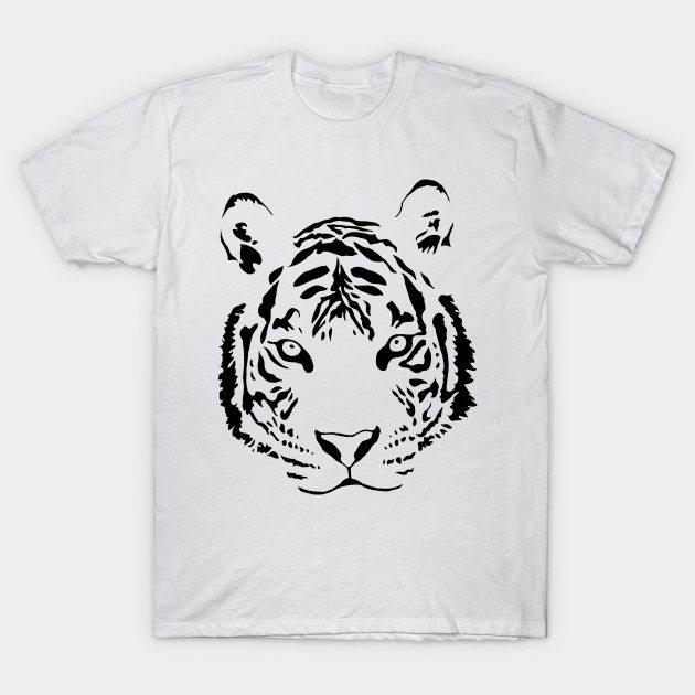 White Tiger Black Print T-Shirt