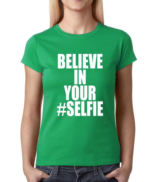 Believe In Your #Selfie Emoji Womens T-shirt