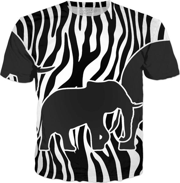 ELEPHANTS to Zebra Stripes Pattern black & white