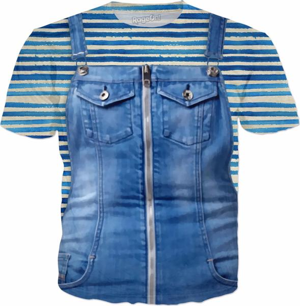 Funny Blue Jeans Dungarees Stripes Background
