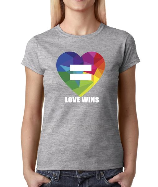 Love Wins! Marriage Equality Rainbow Heart Womens T-shirt
