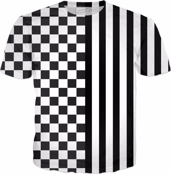 Racing Chess Squares Stripes Black White