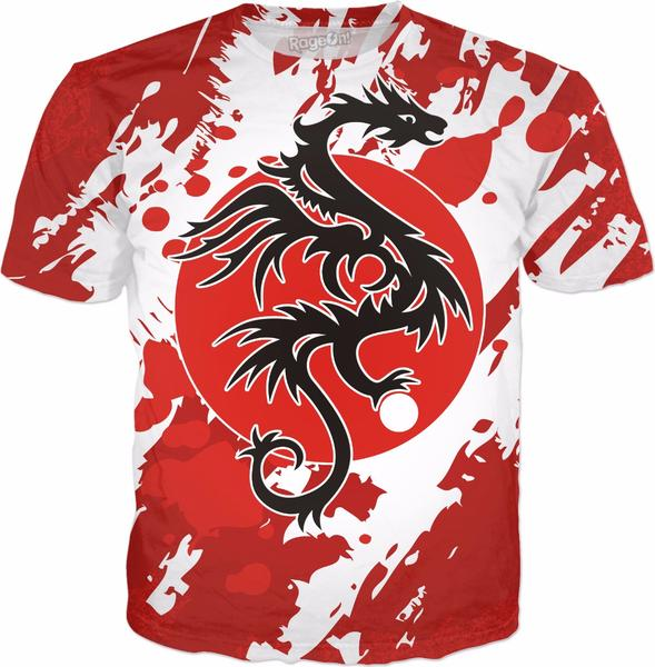 Sun Dragon with Pearl – grunge black Red White