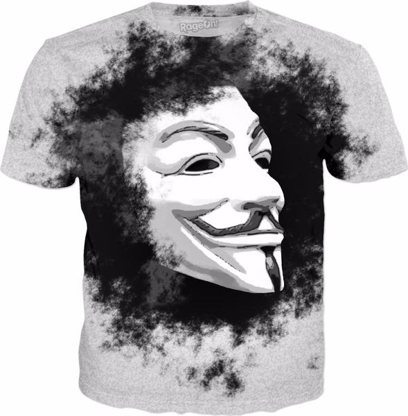 White Anonymous Mask On Black Cloud