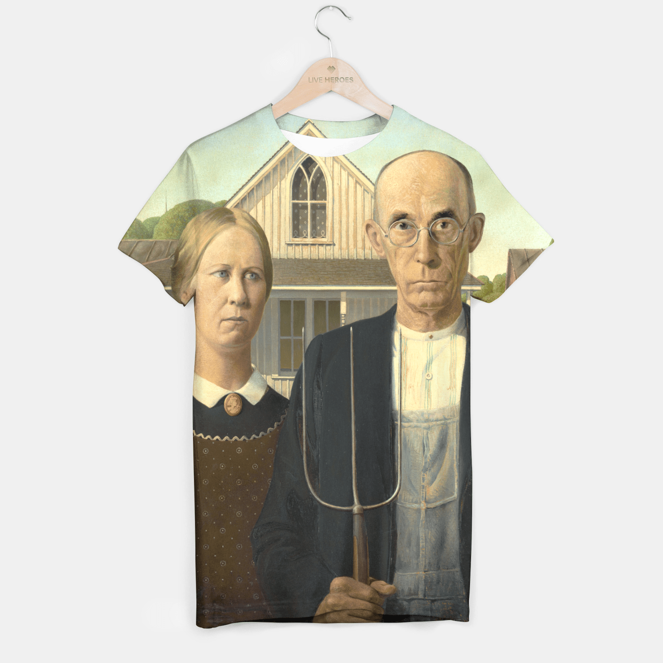AMERiCAN GOTHiC BY GRANT WOOD T-shirt, Live Heroes