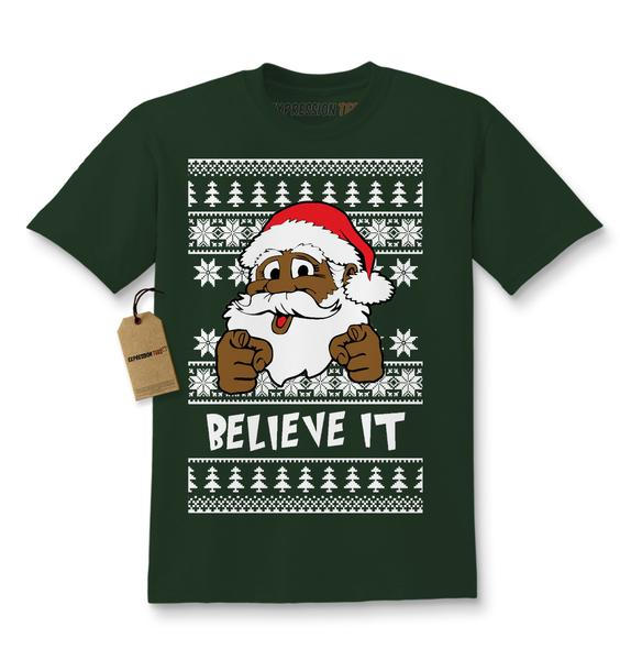 Believe It! Black Santa Clause Ugly Christmas Kids T-shirt