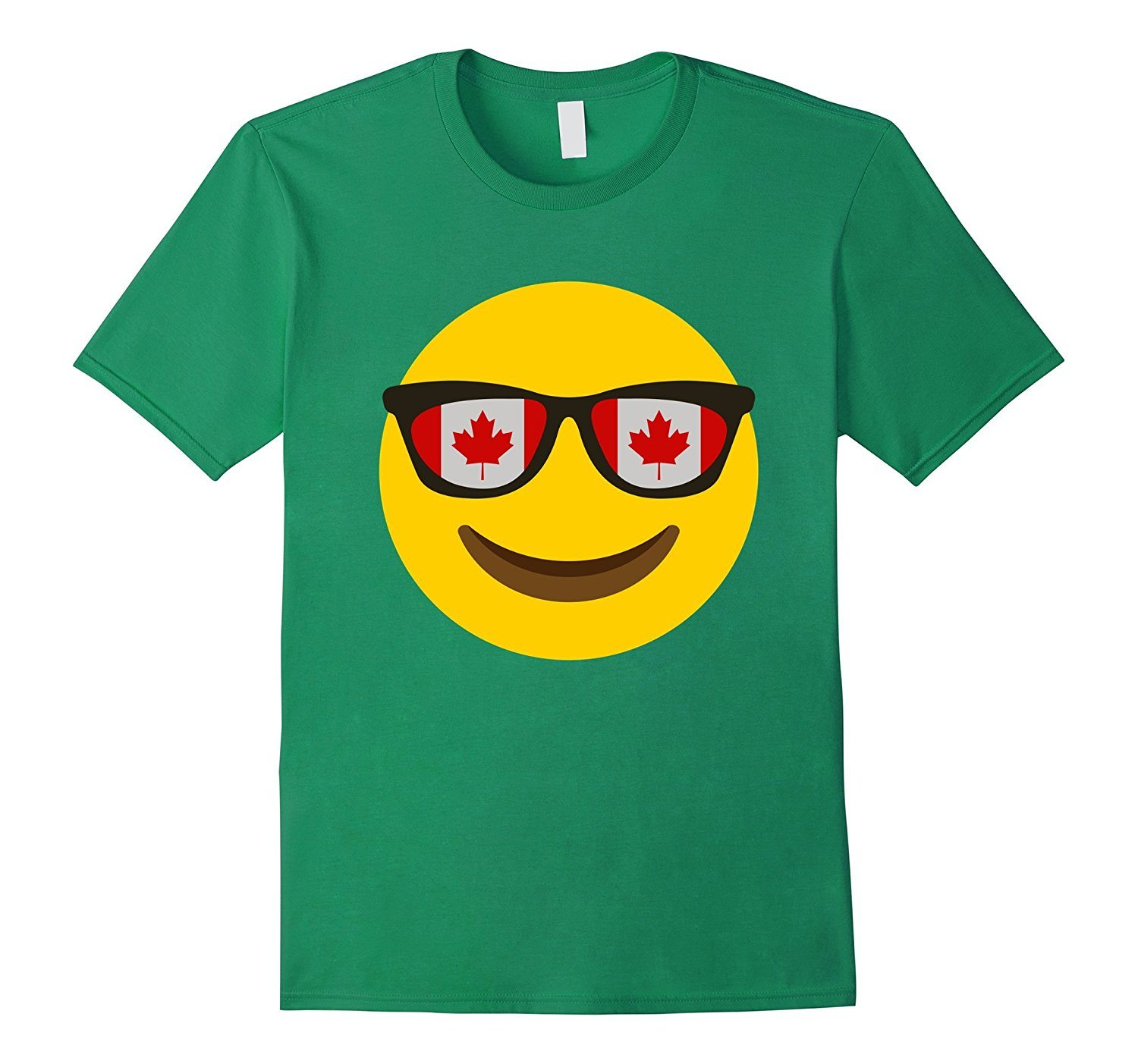 Canadian Flag Glass Tshirt Canada Emoji Face T-shirt