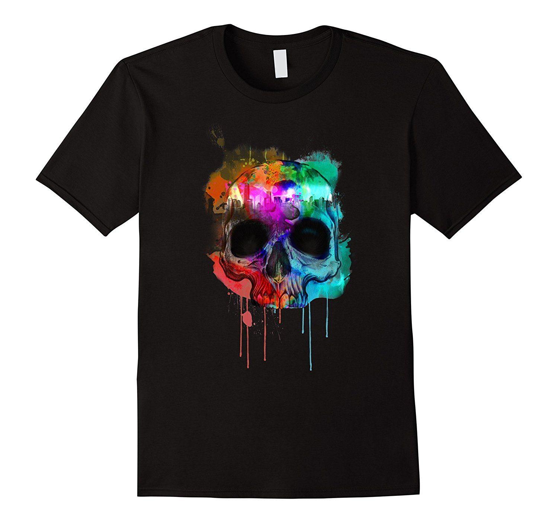 Cool Paint Graphic Design City Inside Skull