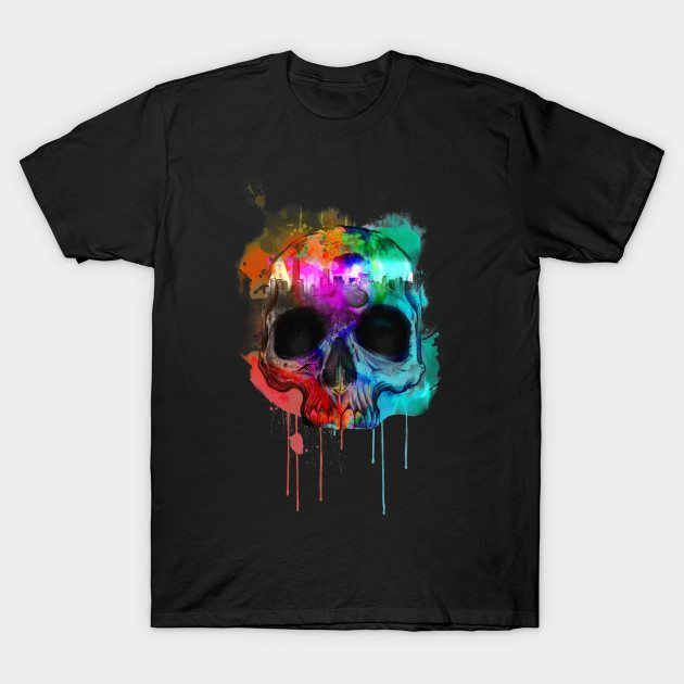 Cool Paint Graphic Design City Inside Skull T-shirt T-Shirt
