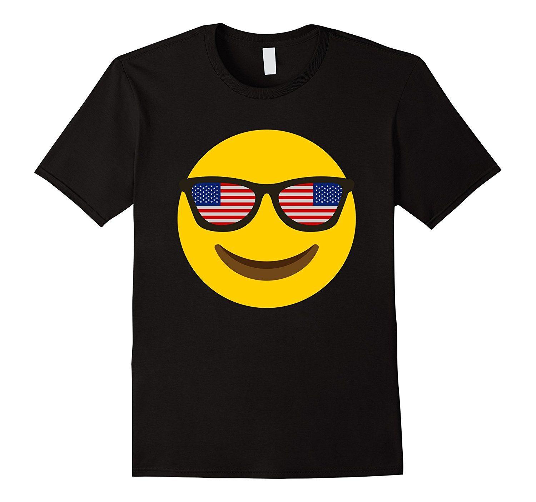 Cool United States Flag Glass Tshirt USA Emoji Face T-shirt