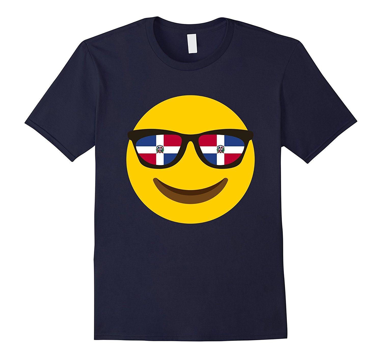 Dominican Republic Flag Glass Emoji Face T-shirt