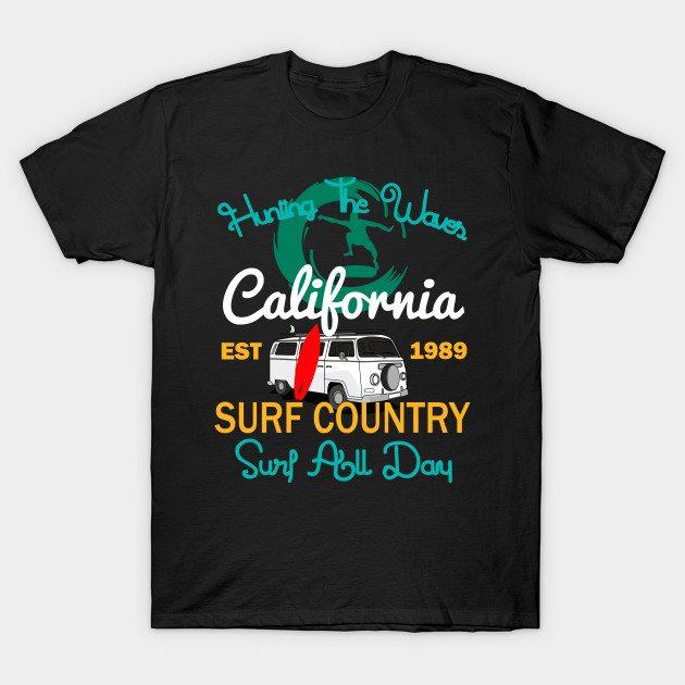 Hunting The Waves California Surfing T-shirt T-Shirt