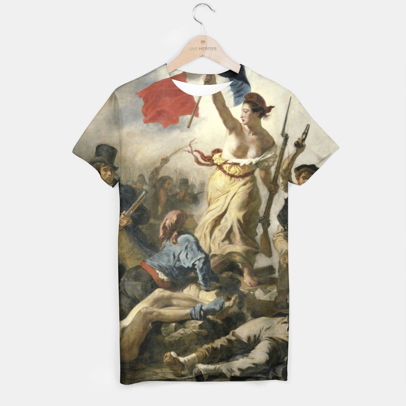 LiBERTY LEADING THE PEOPLE BY EUGENE DELACROiX T-shirt, Live Heroes