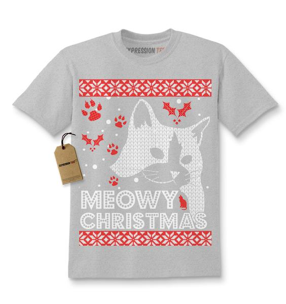 Meowy Christmas Ugly Christmas Holiday Kids T-shirt