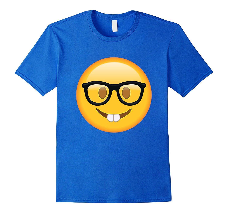 Nerd with Glasses Emoji T-shirt Emoticon Nerdy Side Tshirt