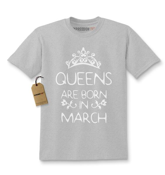 Queens Are Born In March Kids T-shirt