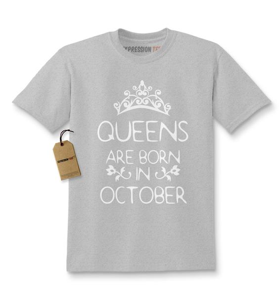 Queens Are Born In October Kids T-shirt