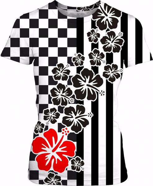Racing Chess Squares Stripes Black White Hibiscus Red