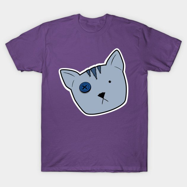 Stuffed Tabby Voodoo Kitten Head – Blue-Grey T-Shirt