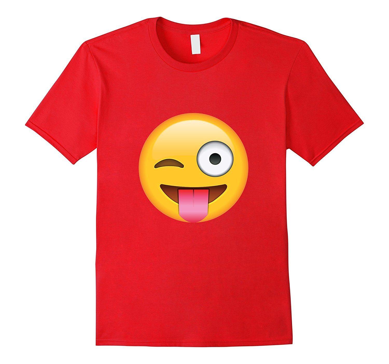 Tongue Out Emoji with Winking Eye T-shirt Emoticon Tshirt