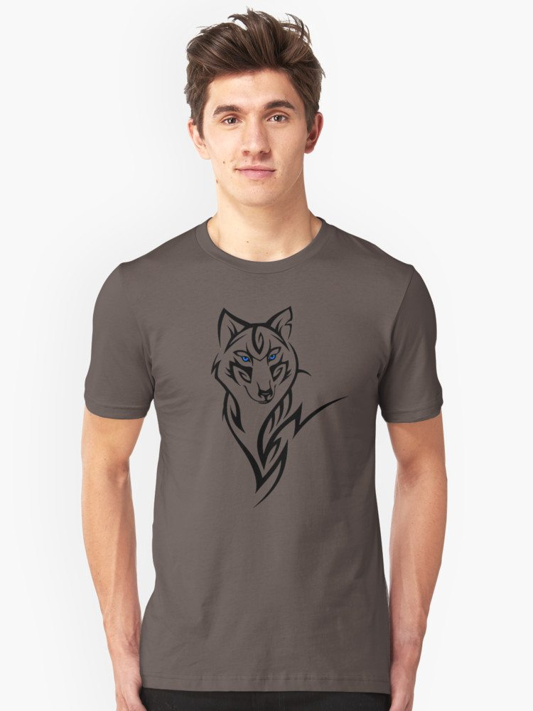 Tribal Wolf with Blue Eyes