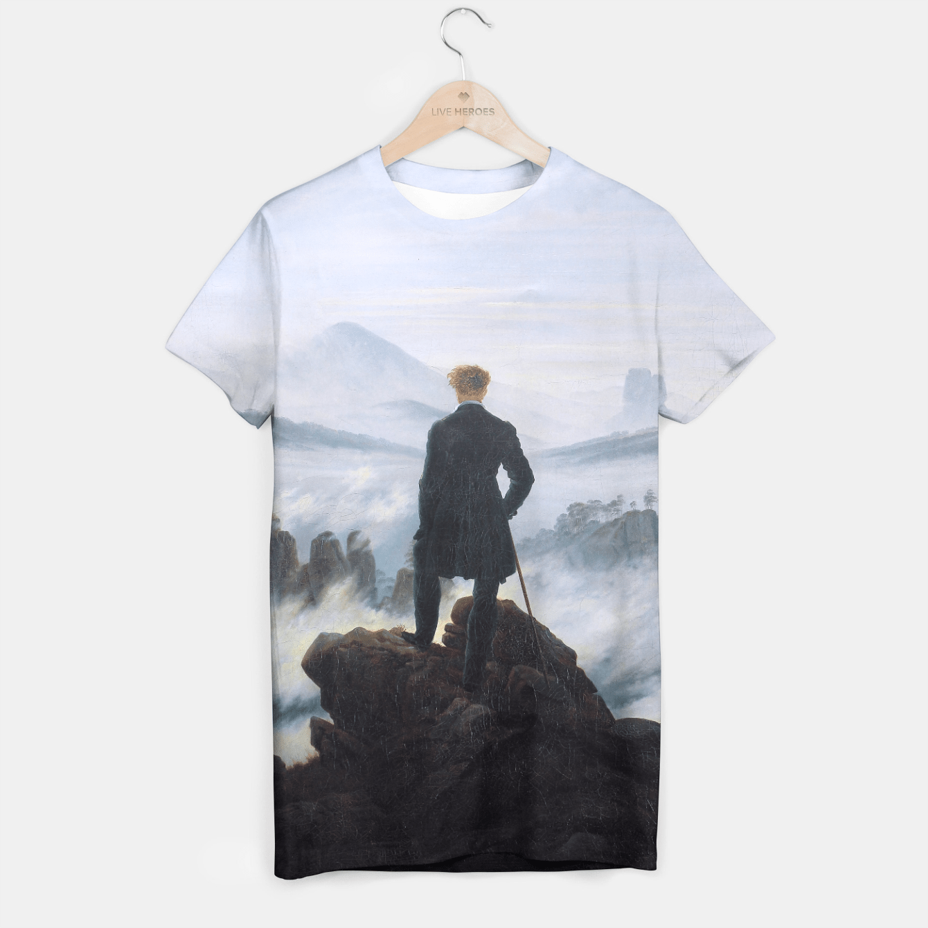 WANDERER ABOVE THE SEA OF FOG BY CASPAR FRiEDRiCH T-shirt, Live Heroes