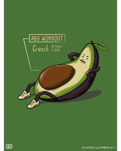 Avocado Abs Workout T Shirt By Ged Works Design By Humans
