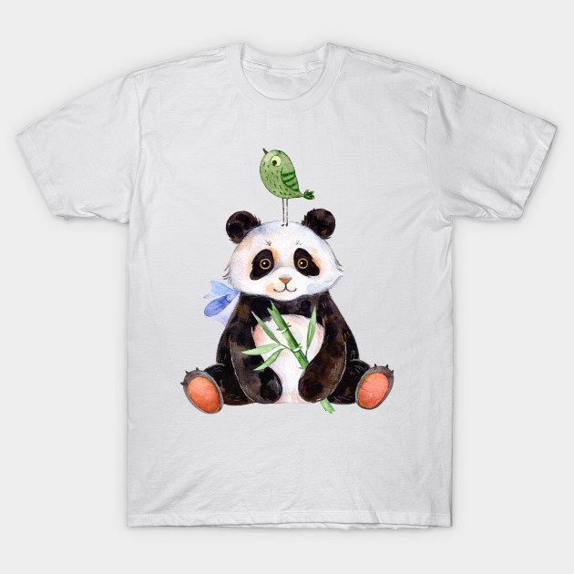 Cute panda and bird watercolors illustration T-Shirt