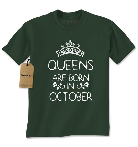 Queens Are Born In October Mens T-shirt