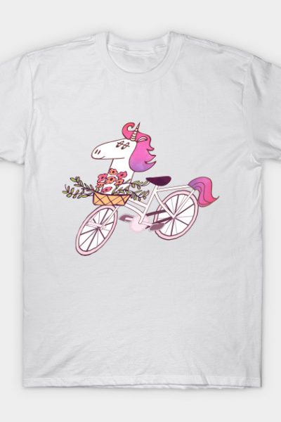 Uni-cycle cartoon illustration – unicorn hipster bicycle shirt T-Shirt